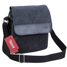 "Zicac Black Canvas With Genuine Leather Messenger Bag. $25 - Size: 30*24*11cm a/11.81""*9.45""*4.33""inch  - Net weight: 600g  - Pocket:1*main pocket.          1*Zipper pocket.          1*Back open pocket.          1*Inside mobile phone pocket.          1*Document pocket.          1*Zipper pocket."