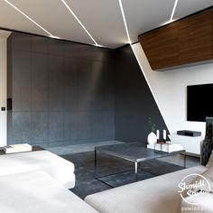 diagonal ceiling strip light; minimalist paneled wall; grey joinery