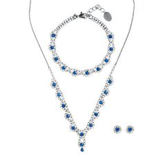 Capri Blue Rhinestone and Hematite Scalloped Y Necklace, Bracelet and Flower Stud Earrings Set of 3 | Claire's
