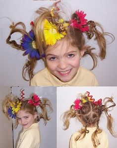 Crazy hair day at school. Ha! My daughter's picture from years ago - pinned from pinterest! Hint - just don't use glitter pipe cleaners...think velcro...ouch!