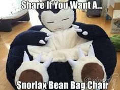 Snorlax beanbag chair!! This would be an awesome gaming chair xD