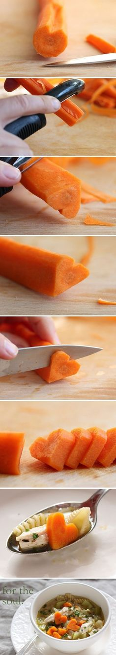 Heart-Shaped Carrots in Soup   41 Heart-Shaped DIYs To Actually Get You Excited For Valentine's Day