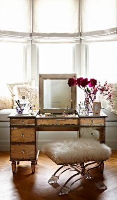57edecade22 Beneath the dazzling mirrored and gilded surface of our Alessandra Vanity  lies a myriad of features