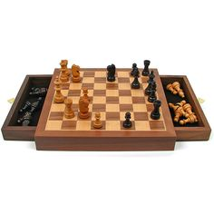Inlaid Walnut Magnetized Wood With Staunton Wood Chessmen