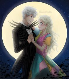 Jack Frost as Jack Skellington, Elsa as Sally. (Believe me, I know one of them doesn't belong to Disney.)