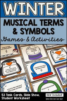 Music teachers, these winter music games & activities are so much fun! The task cards can be used for a scavenger hunt or write the room music activity. The powerpoint slide show is great for a non-music sub or your music sub tub collection! This music symbols and terms set is easy to use, printable and includes a music theory worksheet & study guide- perfect for music assessment! Sure makes a fun alternative to a boring music theory exam! #wintermusicgames #wintermusicactivities…