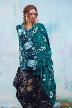 Silk Cotton scarf Hand painted Peacock in Aquas by Shovava on Etsy, $68.00