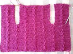 Colete sem costura Coloque 109 pontos na agulha de tricot nº 6 E faça o seguinte ponto : 1ª carreira : 11 tr, 3 meia, 11...