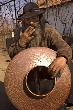 Gypsy:  Kalderash man in a Kalderash Roma (#Gypsy) village.  Traditionally, the Kalderash were coppersmiths.