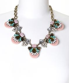 Pink & Blue Deco Crystal Bib Necklace | something special every day