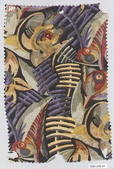 Silk textile sample by an unknown designer for Wiener Werkstatte, 1910–28