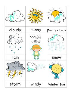 Preschool Printables: Weather Cute for making a weather chart for class.