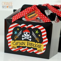 PARTY BOX - The personalised details are on the front of each box and the bright polka dot ribbon and personalised tag completes the look. Different colour combinations available - just ask me! #etsy #gentlemanpirateclub #piratethemed #partyflavors #piratedecor Pirate Decor, Pirate Theme, Party In A Box, For Your Party, Pirate Party Favors, Orange Paper, Pirate Skull, Party Banners, Color Box