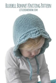 Bluebell Baby Bonnet Knitting Pattern for newborns, babies and toddlers!   littleredwindow.com Baby Bonnet Pattern Free, Baby Hat Knitting Pattern, Baby Hat Patterns, Baby Hats Knitting, Vintage Knitting, Knitting For Kids, Knitted Hats, Scarf Patterns, Knitting Projects