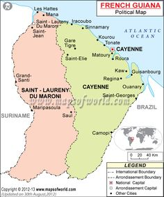 French Guiana South America Cruise Pinterest South - South america french guiana map