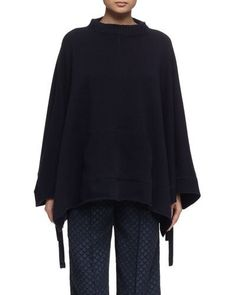 Funnel-Neck Poncho, Navy