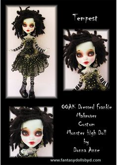 OOAK Full costumed dressed Frankie Repaint with dreadlocks. July 2013 by Donna Anne