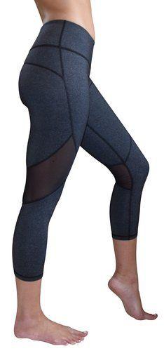 Mesh Capri Yoga Pants Women's Workout Leggings by Yoggir (Large, Gray)