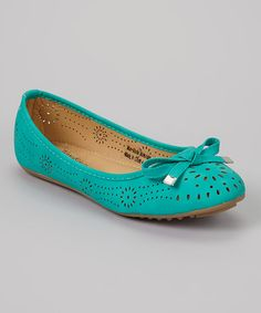 Look what I found on #zulily! Tory Klein Teal Cutout Bow Flat by Tory Klein #zulilyfinds