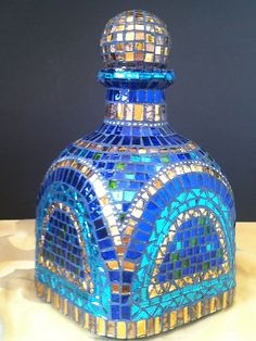 PATRON BOTTLE Stained Glass Mosaic - cool idea for all those interestingly shaped bottles from the package store