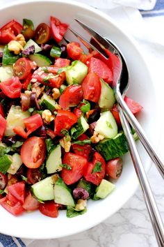 Quick Onion, Tomato And Cucumber Relish (Kachoomar) Recipe ...