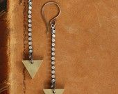 Arrowhead Earrings - Brass Triangle and Rhinestone Earrings by Prairieoats
