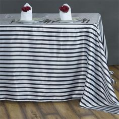 "Ever Lovable Stripes Table Cloth 60"" x 126"" - White / Black 