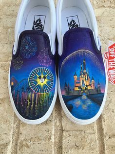 Items similar to Disney World and Disneyland Painted Vans Custom Shoes - Shanny's Shoes on Etsy Custom Vans Shoes, Vans Slip On Shoes, Custom Painted Shoes, Painted Vans, Hand Painted Shoes, Crocs Shoes, Painted Canvas Shoes, Disney Diy, Disney Vans