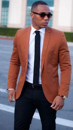 Men's Tobacco Blazer, White Dress Shirt, Navy Chinos, Navy Tie
