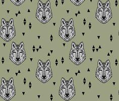 Wolf - Artichoke by Andrea Lauren fabric by andrea_lauren on Spoonflower - custom fabric