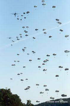 Two massive groups of paratroops, separated by hundreds of miles of countryside, conducted airdrops Wednesday as part of the largest NATO airborne exercise in Europe since the end of the Cold War. Airborne Army, Airborne Ranger, 101st Airborne Division, Military Life, Military History, Fort Benning, Paratrooper, Special Forces, Vietnam War