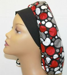Surgical Scrub Hat Polka dots bouffant style by UniScrubCaps, $10.99