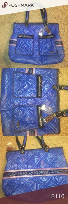 Blue Coach handbag Precious blue puff handbag is in great condition! Only worn a few times! Coach Bags Shoulder Bags