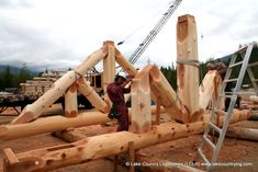 Custom Handcrafted Western Red Cedar Log Truss being built at our Log Yard in British Columbia - LCLH Cedar Log, Woodworking Inspiration, Timber Frame Homes, Roofing Systems, Log Cabin Homes, Post And Beam, Western Red Cedar, British Columbia, Woodworking Plans