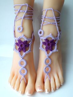 Purple Crochet Barefoot Sandals, Nude shoes, Foot Jewelry, Wedding, Victorian Lace, Sexy, Anklet , Bellydance,Beach Footwear(A Pair-2pcs) on Etsy, $12.00