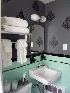 Gray bathroom decor full size of and mint bathroom decor also mint green bathroom decorating ideas gray and white bathroom set Mint Green Bathrooms, Black Tile Bathrooms, Mint Bathroom, Vintage Bathrooms, Simple Bathroom, Modern Bathroom, Bathroom Ideas, Bathroom Colors, Chevron Bathroom