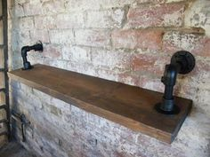 Industrial Steel Pipe Shelving Pipe Shelf - Reclaimed Scaffold Board in Home, Furniture & DIY, Furniture, Bookcases, Shelving & Storage Floating Shelves With Lights, Floating Shelves Bedroom, Wooden Floating Shelves, Floating Shelves Kitchen, Diy Pipe Shelves, Wood Shelves, Pipe Shelving, Shelves With Pipes, Scaffold Shelving