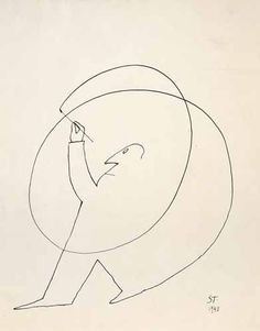 """Saul Steinberg (1914-1999). Untitled, 1948. Ink on paper, 14 1/4 x 11 1/4"""".  Beinecke Rare Book and Manuscript Library, Yale University. http://www.saulsteinbergfoundation.org/gallery.html"""