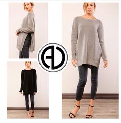 """Really Loving Our Just In Sweater !! Perfect for Fall  SEARCH • Side Slit Sweater  USE PROMOCODE """"FREESHIP"""" for free shipping  Shop: www.aliciadimichele.com"""