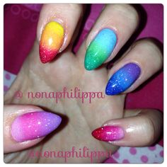 Rainbow gradient and glitter nails