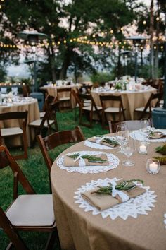 Burlap and lace table setting+ dark chairs+ cafe lights + alfresco!