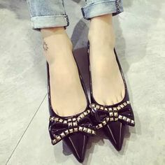 Find More Women's Flats Information about European Style 2015 Women Flats Pointed Toe Spring & Autumn Slip On Party Shoes Super Fashion Bowtie with Metal Bordered XWD2414,High Quality shoe terms,China shoes dc Suppliers, Cheap shoe organizer for closets from Charm keep on Aliexpress.com