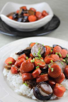 Sweet Miso Eggplant and Carrot Rice Bowl #recipes #vegetarian