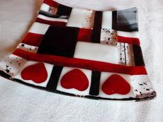 Red, Black, White Fused Glass Square Plate with Hearts