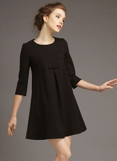 Black Round Neck Lace Loose Dress