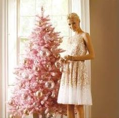 pink christmas tree. Glitter candles. Rose. Peach. Gold. Silver. White. All good Christmas color schemes!!!
