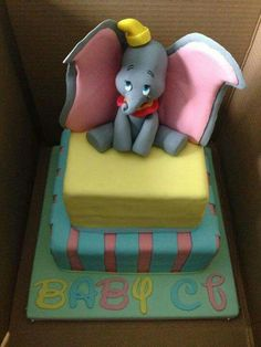 Dumbo cake for a baby shower by Jessica Dumbo Baby Shower, Baby Dumbo, Boy Baby Shower Themes, Baby Shower Cakes, Dumbo Birthday Party, Twin Birthday, Baby Party, Birthday Cakes, Dumbo Cake