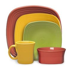 Fiesta Square Dinnerware Collection in paprika, marigold and lemongrass square dinner plates