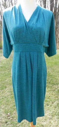 37.39$  Buy here - http://vihzl.justgood.pw/vig/item.php?t=3iokbx44288 - RONNI NICOLE Dress 10 Turquoise Marled SS Crossover V-Neckline Double Knit Lined 37.39$