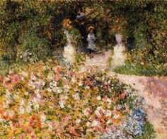 The Garden (In the Park) - Pierre-Auguste Renoir Paintings Pierre Auguste Renoir, Edouard Manet, Claude Monet, Renoir Paintings, Impressionist Paintings, Flower Paintings, Oil Paintings, August Renoir, Cagnes Sur Mer